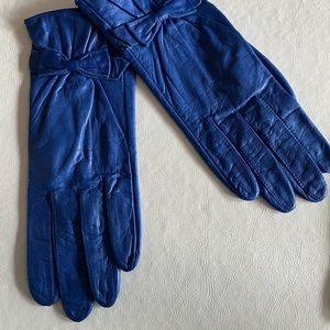 ARIS COBALT BLUE LEATHER NYLON LINED GLOVES